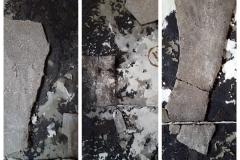Marek Kulig, Detale: PORTA NIGRA - RELIQUIARIUM - PETITIONES - ANTIQUITATIS (2015, 220x220cm, assemblage, akryl)