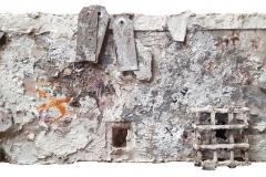 Marek Kulig, RELIQUIARIUM - PETITIONES - ANTIQUITATIS I (2015, 24x48cm, assemblage, akryl)