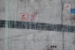 34. Zapis- INFO (2007, 70x100cm, akryl, karton)