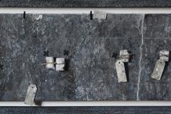 Marek Kulig, Pamiątki - Liber Manu Scriptus - Artefakty (2013, 39x79cm, assemblage, akryl, karton)
