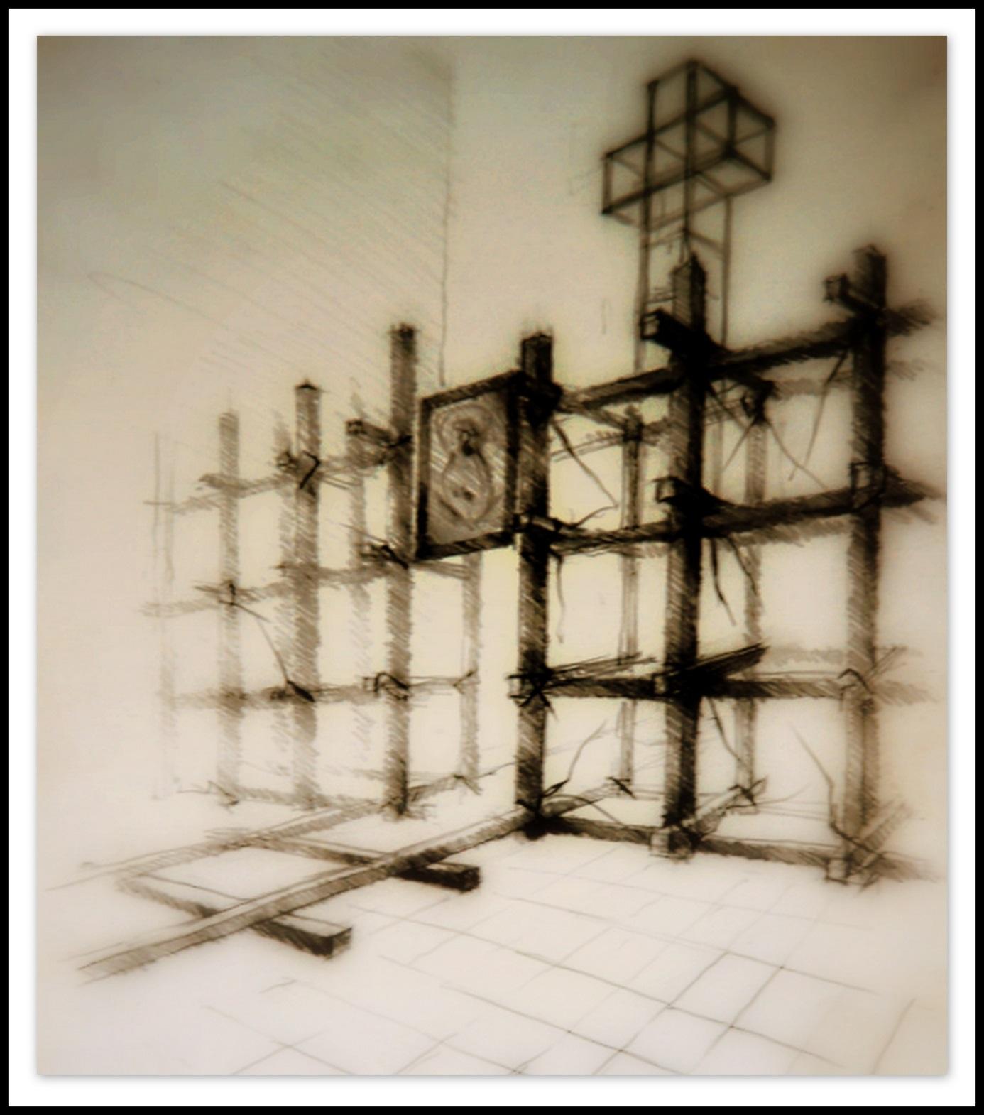 """Projekt koncepcyjny """"POMNIKA OŁTARZA"""" dla Dolnobrzeskiego Koła Związku Sybiraków, do Kościoła pod wezwaniem """"Chrystusa Króla"""" w Brzegu Dolnym, Wrocław 1999"""