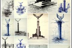 """Projekt """"Pomnika Orła Białego"""", rysunki koncepcyjne dla miasta Dębno,"""