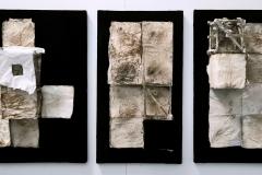 Marek Kulig, SYRIA tryptyk I, II, III, 134x55cm, assemblage, 2021