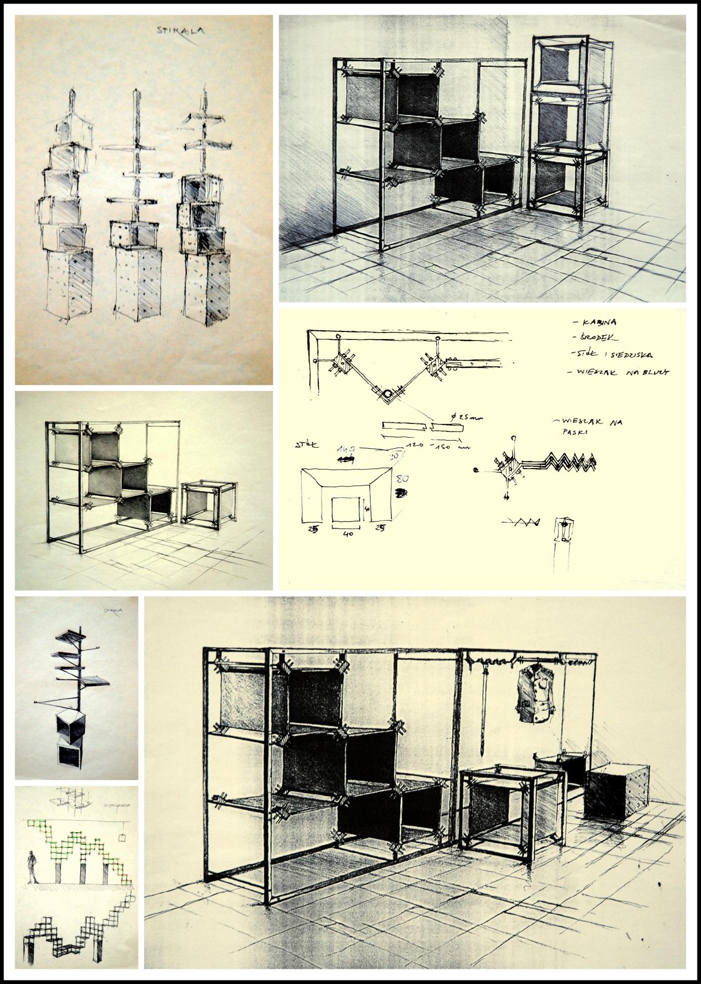 """Projekt systemowych mebli sklepowych """"PATROL"""", dla firmy """"PATROL"""", projekt wykonany wspólnie z Jackiem Kuligiem, Wrocław, 2000"""