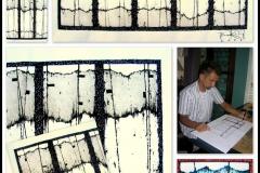 Projekt koncepcyjny malarstwa w architekturze do wnętrza Centrum Medycznego (rysunki koncepcyjne, plansze wykonawcze, forma realizacji szkło, pigmenty, rytowanie) - Michigan, Livonia, USA, 2006